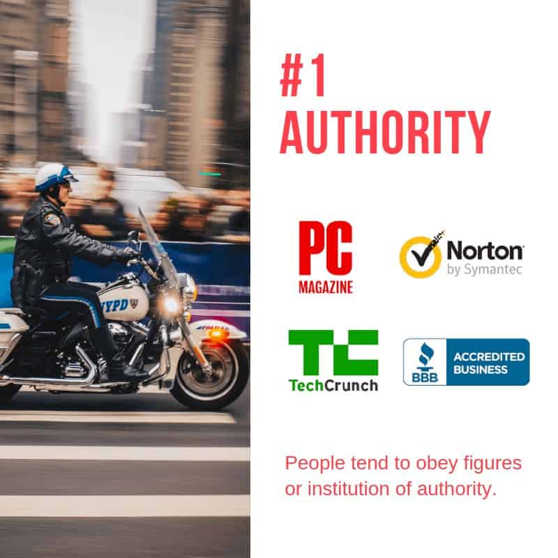 persuasive technique number 1 authority, police officer on a motorcycle