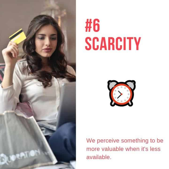 principle # 6 scarcity woman on couch holding a creditcard